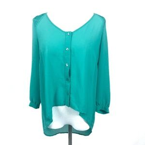 UO Pins & Needles hi low teal blouse 3/4 sleeve